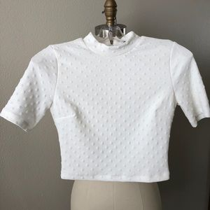 Forever 21 Raised Dot Mock Neck Crop Top